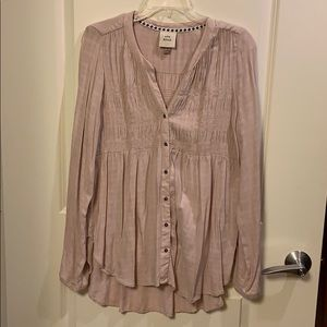 Blush pink long sleeved button up top